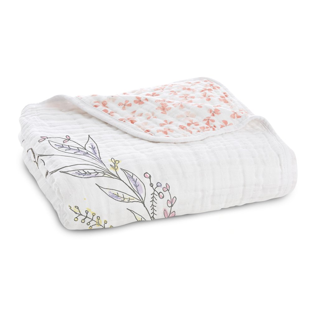 aden + anais Dream Blanket, 100% Cotton Muslin, 4 Layer lightweight and breathable, Large 47 X 47 inch, Birdsong - Noble Nest