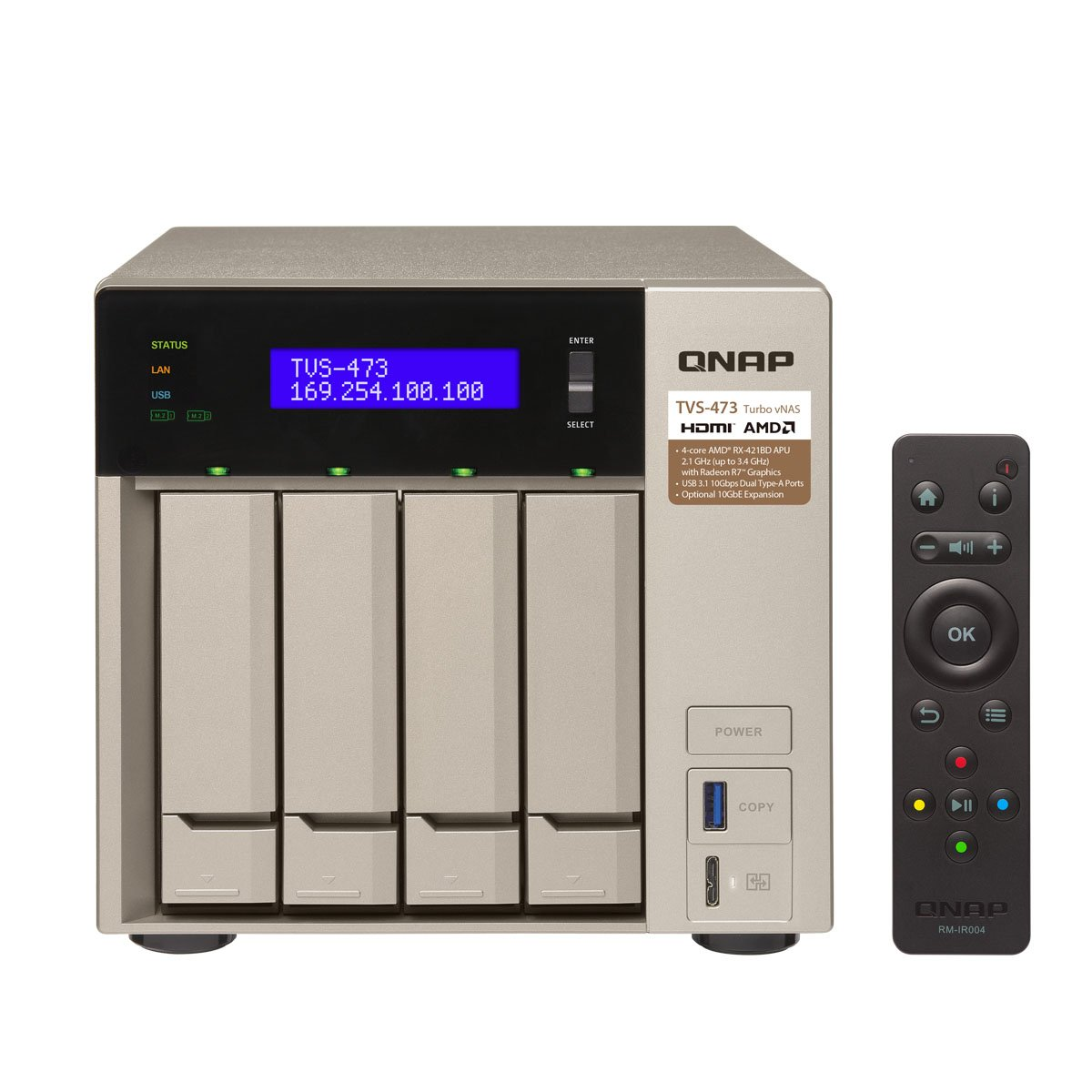 Amazon.com: Qnap TVS-473-8G-US 4-bay NAS/iSCSI IP-SAN, AMD R series  Quad-core 2.1GHz, 8GB RAM, 10G-ready: Computers & Accessories