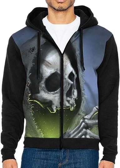 Nvthenpiaoliang Skull Night Light Mens Avant-Garde Fashion Cap Pocket Hoodies