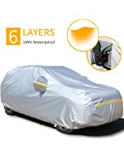"Car Covers Waterproof,SUV Car Covers for 6 Layers All Weather Outdoor Snow UV Protection with Zipper A8-YM+(Fits SUV 178"" to 187"")"