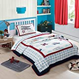NEWLAKE Airplane Bedding Quilt Set for Kids, 2 Pieces of Comforter Sets, Twin Size