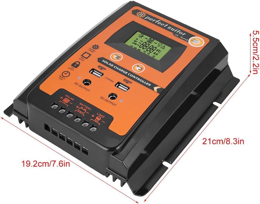 Qiilu MPPT Solar Charge Controller Solar Panel Battery Intelligent Regulator with Dual USB LCD Display 12V//24V 50A