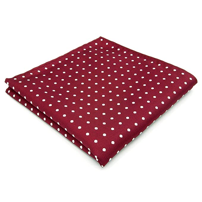Shlax&Wing Boda Clásico Hombre Seda Pañuelo De Bolsillo Para Rojo Blanco Puntos 32cm