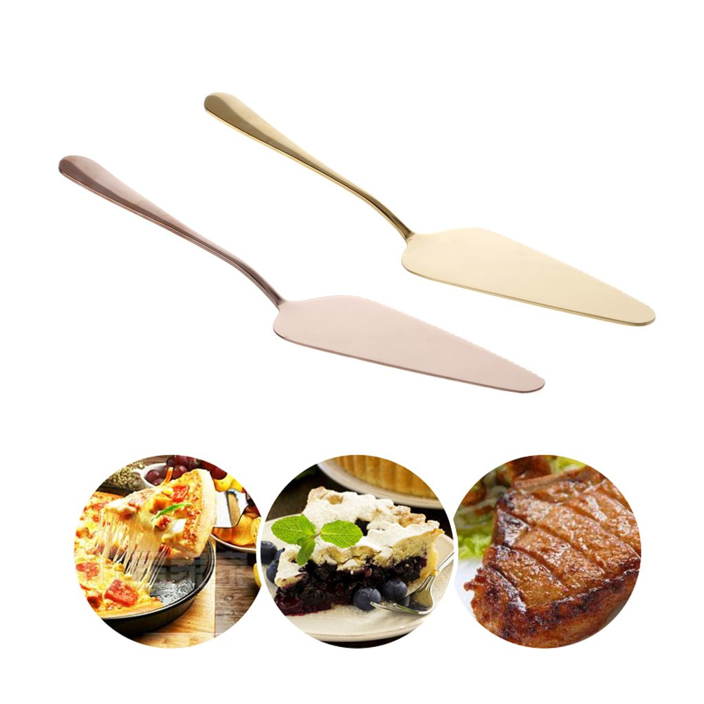 Poity Stainless Steel Cake Shovel Pie Pizza Cheese Server Divider Knife Baking Tools- Rose Gold by Poity (Image #5)
