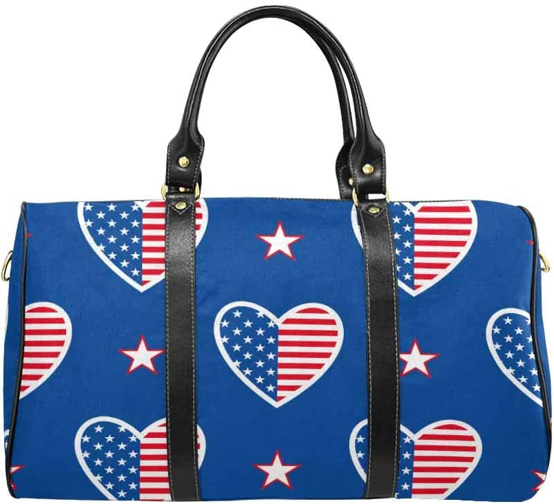InterestPrint Happy Independence Day United States of America Unisex Duffel Bag Carry-on Bag Overnight Bag Weekender Bag