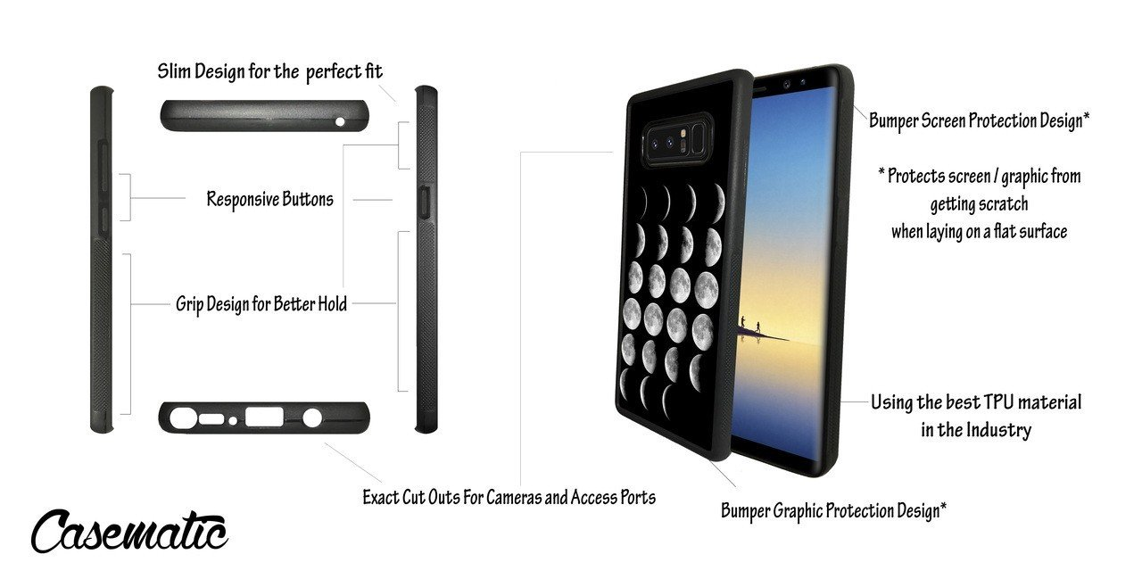 Amazon.com: Samsung Galaxy Note 8 Case Moon Phases Rubber Black Protective Phone Case For Samsung Galaxy Note 8 Phone Case by Casematic: Cell Phones & ...