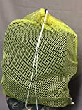 (6 Pack) Yellow Mesh Laundry Net Bag Size 18 x 24 Draw Cord & Spring Lock. Commercial Grade Made in USA
