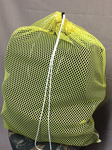 (6 Pack) Yellow Mesh Laundry Net Bag Size 18 x 24 Draw Cord & Spring Lock. Commercial Grade Made in USA by HG Maybeck Co