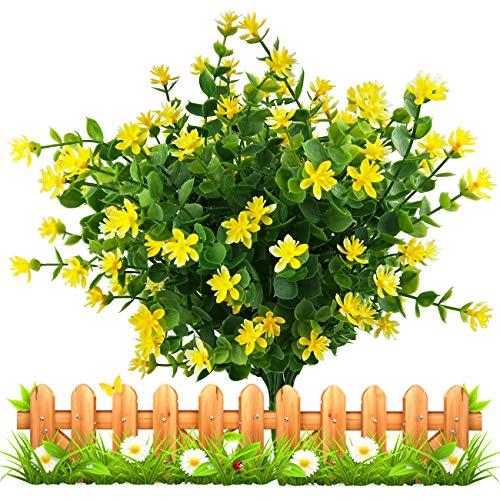 LUCKY SNAIL Artificial Flowers, Fake Outdoor UV Resistant Boxwood Shrubs Plants, Lifelike Plastic Flowers for Indoor Outdoors Home Office Garden Wedding Sidewalk Trim Decor,4 Pcs(Yellow)