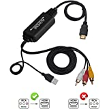 RCA to HDMI Converter Cable, AV to HDMI Adapter Cable Cord, 3RCA CVBS Composite Audio Video to 1080P HDMI Supporting PAL NTSC for PC Laptop Xbox PS3 PS4 TV STB VHS VCR Camera DVD Etc