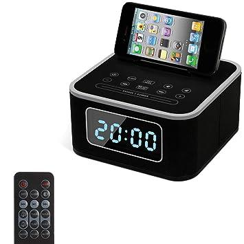 WWANGYU Reloj Despertador con Radio, Altavoz Inalámbrico Bluetooth, Reloj Despertador Digital USB Cargador para