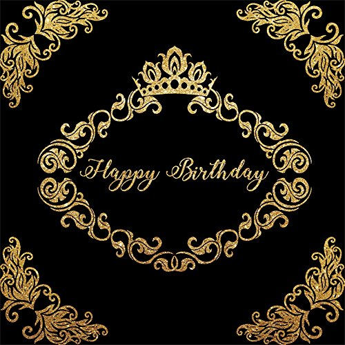 LFEEY 6x6ft Father Mother Birthday Party Backdrop for Photos Black Background Gold Crown Flower Pattern Adutls 30th 40th 50th Birthday Parties Photo Booth Props -