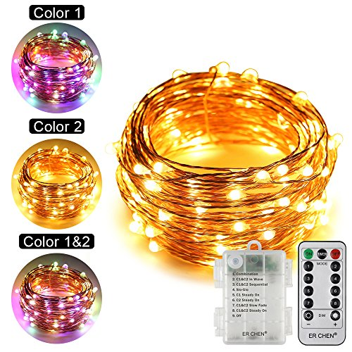 ErChen Dual-Color Battery Operated Led String Lights (Warm White/Multicolor), 33 FT 100 Leds Color Changing Silvery Copper Wire Dimmable Fairy Light with Remote Timer for Indoor/Outdoor Christmas