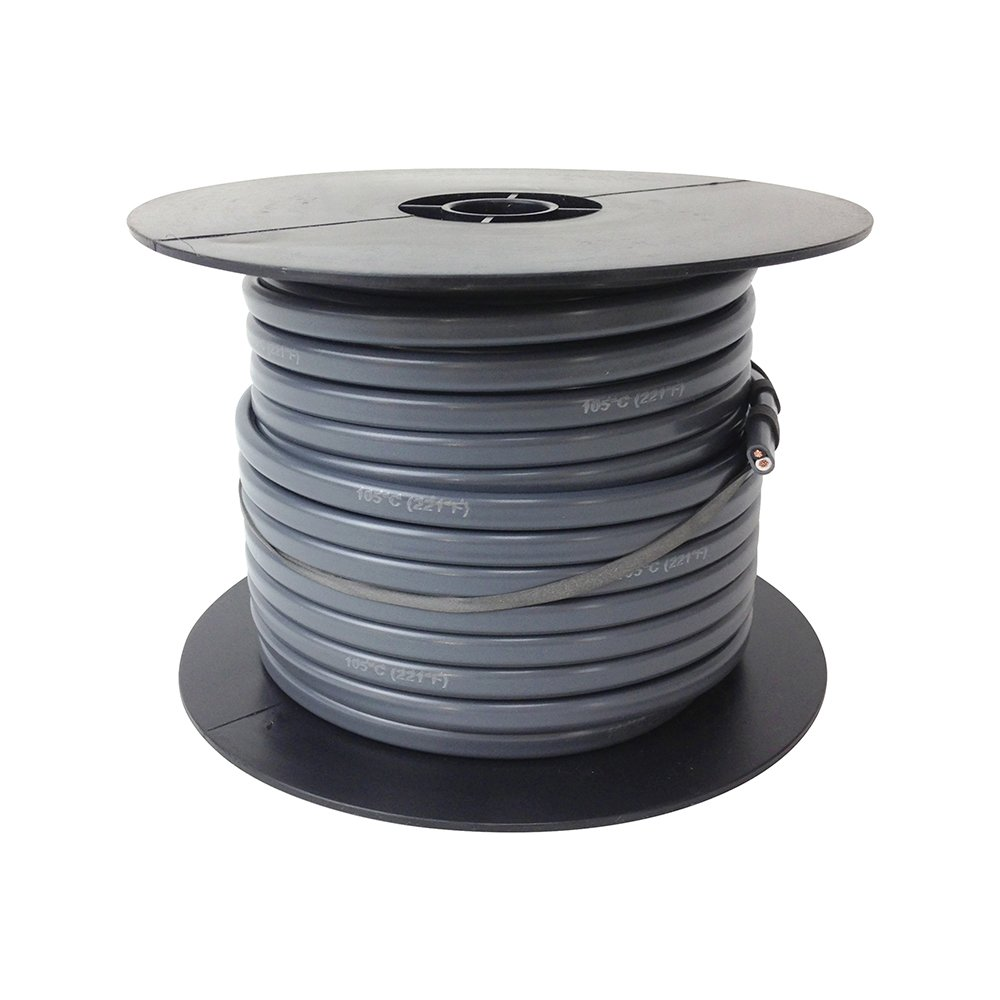 PRECISION BATTERIES Trailer Light Cable Wiring Harness 14 Gauge 2 Wire Jacketed Gray 100' Roll