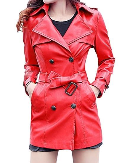 Bigood Manteau Femme Faux Cuir Veste avec Ceinture Automne Hiver Mode   Amazon.fr  Vêtements et accessoires c6bc41f36566