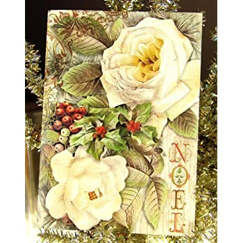 Amazon punch studio 59722 white roses noel christmas holiday punch studio 59722 white roses noel christmas holiday greeting cards die cut gold embellished m4hsunfo