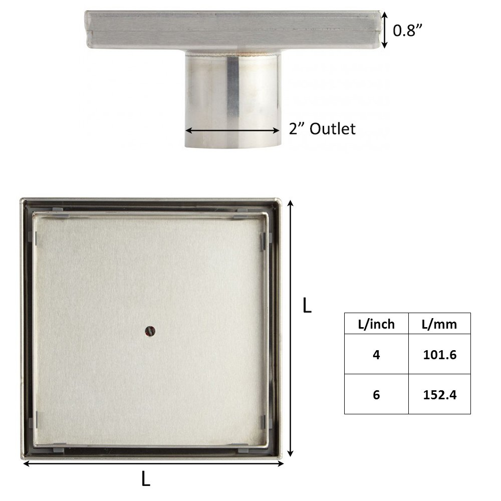 KDrain 6 Inch Square Shower Floor Drain for Bathroom and Kitchen, Tile-in Design Floor Shower Drain Made of 304 Rustproof Stainless Steel with Brushed Finish, Kit Includes Hair Strainer and Key by KDrain (Image #7)