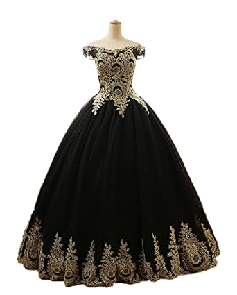 WDH Dress Gold Lace Appliques Quinceanera Dress Black Ball Gown Prom Dress 28