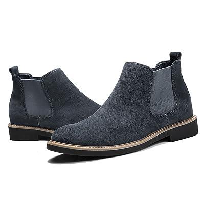 Botines Chelsea de Cuero Italiano Ante Hoofeel para Hombre en Color Negro, Azul y Gris: Amazon.es: Zapatos y complementos