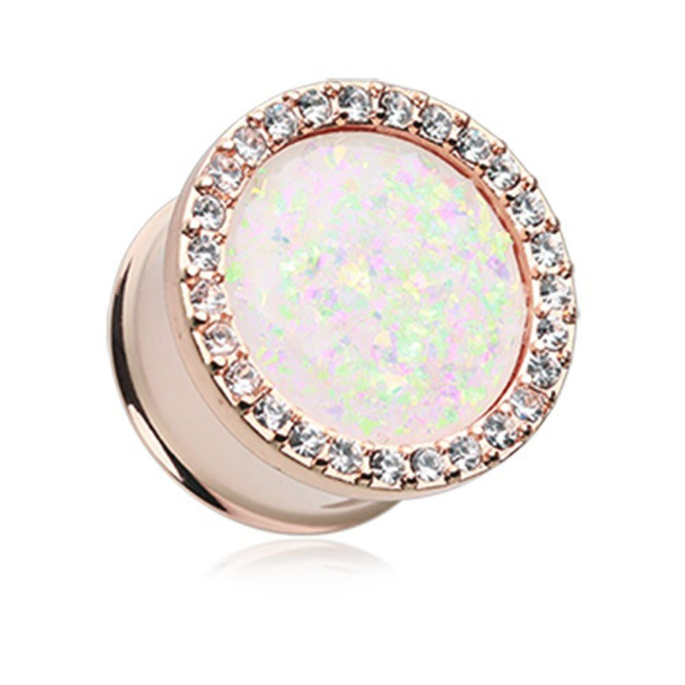 Inspiration Dezigns Pair Of 11mm Rose Gold Synthetic Opal Elegance Multi-Gem Plugs
