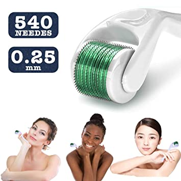 0db26d5bd088c Amazon.com : Derma Roller, Derma Roller Kit Cosmetic Needling Instrument  For Face, 540 Titanium Micro Needle.25mm - Includes Free Storage Case :  Beauty