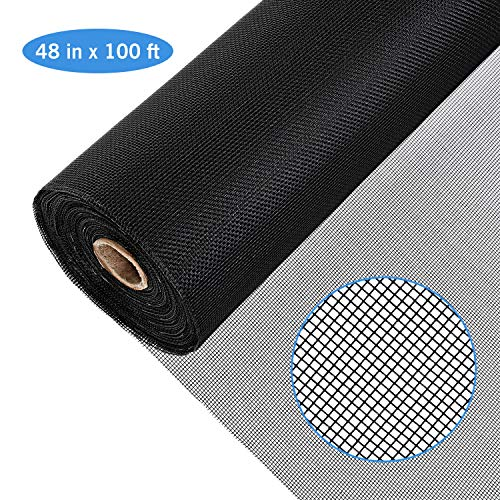 Magicfly Fiberglass Screen Roll, 48 Inch x 100 Feet Window Mesh Screen for Window, Door and Patio, Screen Protection, Patio Screens ()