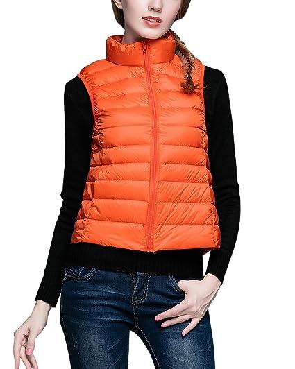 ZhuiKun Donna Giacche Piumino Senza Maniche Ultra Leggero Zipper Gilet  Corto Cappotto Parka Arancia S 7eccd14c285