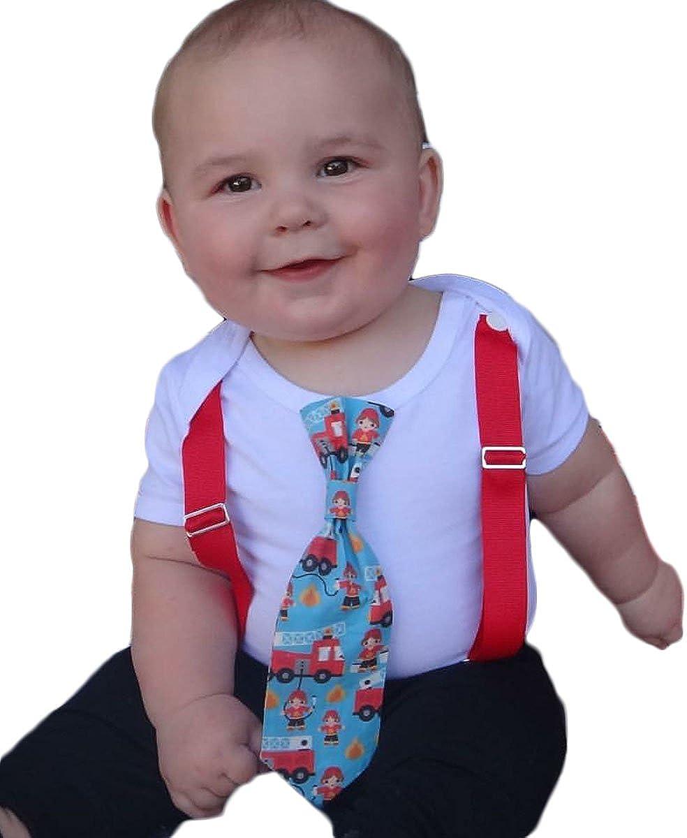 Noah's Boytique Firetruck Birthday Outfit Baby Boy Tie