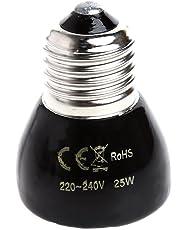 Jiamins Lampe Chauffante Céramique Ampoule chauffante Infrarouge, 200-220V, Base E27, 25/50/75/100W Lampe Infrarouge chauffante pour Reptiles et Amphibiens (25W)