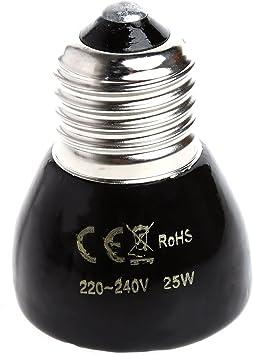25//50//75//100/W Lampada a infrarossi riscaldante per rettili e Anfibi 200/ /220/V Jiamins Lampada riscaldante Ceramica Lampadina riscaldante a infrarossi Base E27