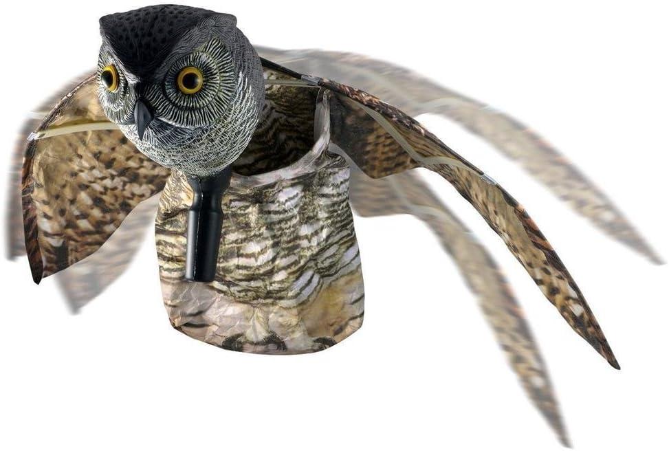Warkhome búho Pest repelente de aves, Scare ojos búho con alas móviles ratón repelente disuasorio ojos reflectantes para granja y jardín