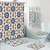 PRUNUSHOME 5-piece Bathroom Set- tileof islamic style Prints decorate the bathroom,1-Shower Curtain,3-Mats,1-Bath towel(Large)