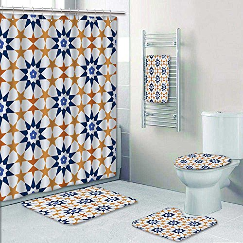 PRUNUSHOME 5-piece Bathroom Set- tileof islamic style Prints decorate the bathroom,1-Shower Curtain,3-Mats,1-Bath towel(Large) by PRUNUSHOME