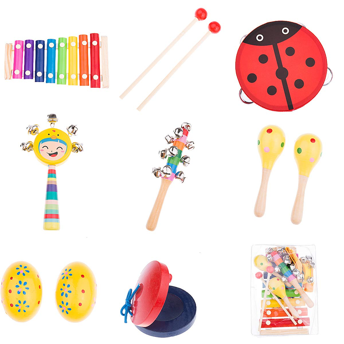OAMCEG Toddler Musical Instruments 9 Types 12Pcs Wooden Percussion Instruments Toy Set for Kids Preschool Educational with Free Carrying Bag
