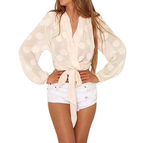 Blusa de Mujer, con Cuello en V de Punto SunGrenTops Camisa de Manga Larga con Encaje Transparente Casual: Amazon.es: Ropa y accesorios