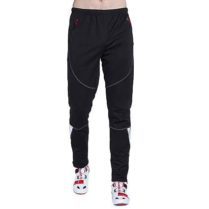 ee316de1b Santic Men s Windproof Fleece Cycling Pants Long Thermal Multi Sports  Trousers Winter Black S