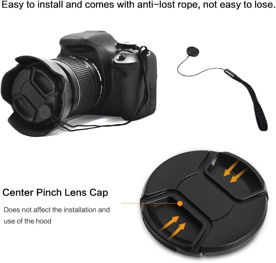 Lens Cap Center Pinch for Canon EOS 90D 82mm + Lens Cap Microfiber Cloth