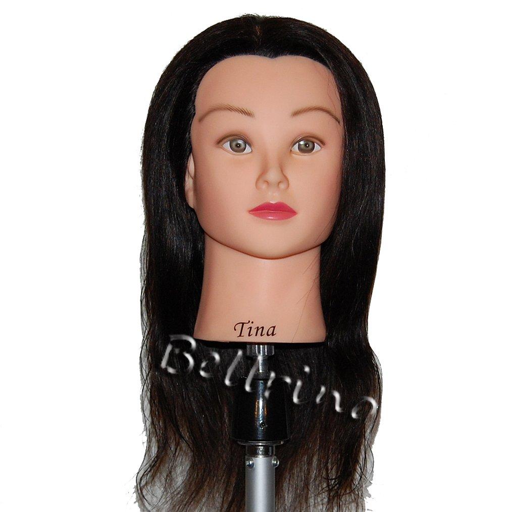 "Bellrino 18-19"" Cosmetology Mannequin Manikin Training Head with Human Hair"