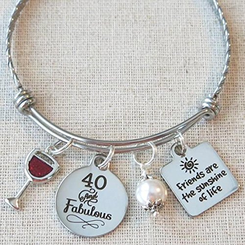 Milestone 40th Birthday Gift for Friend, 40th BIRTHDAY Gift for Her, Friends are the Sunshine of Life Bangle Bracelet, 40 and Fabulous Wine Glass Charm Bracelet