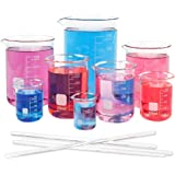 SUPERLELE 8pcs Glass Graduated Beaker Set 25, 50, 100, 200, 250, 400, 500, 1000ml, Multiple Capacity Borosilicate Glass…