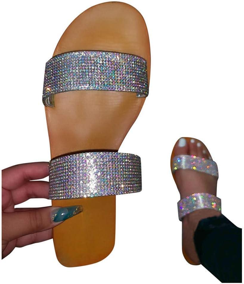 HUADUO Sandalias de Diapositivas de Verano, Chanclas, Zapatillas de Sandalias de Diapositivas Informales con Diamantes de imitación Brillantes para Mujer