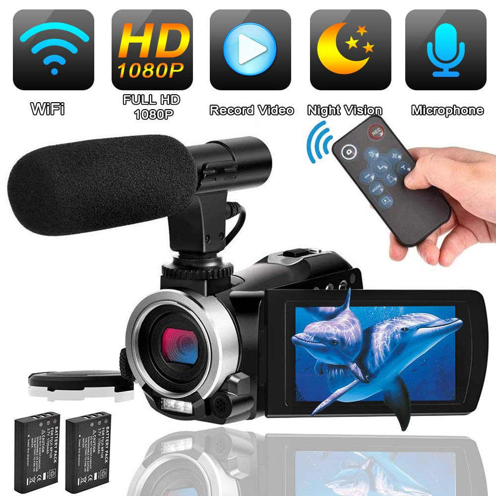 Camcorder Video Camera with Microphone Weton WiFi Vlogging Camera for YouTube Digital Camera Recorder Full HD 1080P 24.0MP 30FPS IR Night Vision Camera 16X Digital Zoom with 2 Batteries and HDMI Cable by weton