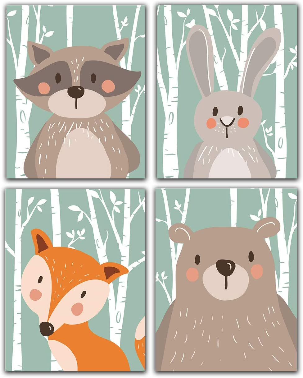 """Woodland Forest Cute Animals Canvas Painting Art Print &Poster for Nursery Wall Picture Kids Baby Room Home Decor Fox Rabbit Bear Giraffe 8""""x10"""" Unframed Set of 4 Prints"""