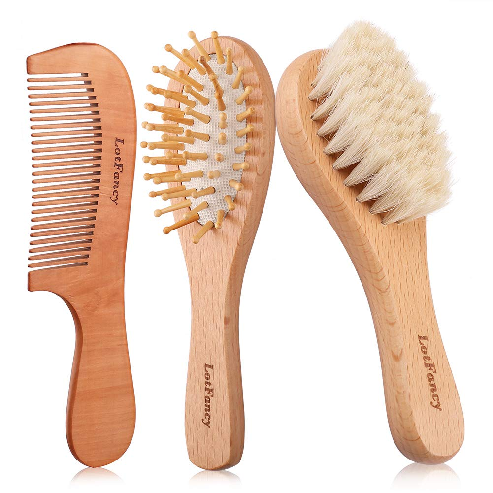 Wooden Baby Hair Brush and Comb Set for Newborns & Toddlers