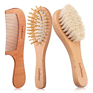 3PCS Wooden Baby Hair Brush and Comb Set for Newborns and Toddlers, Natural Wooden Soft Goat Bristle Brush for Cradle Cap, Baby Comb Brush Perfect Scalp Grooming Kit for Baby Shower and Registry Gift