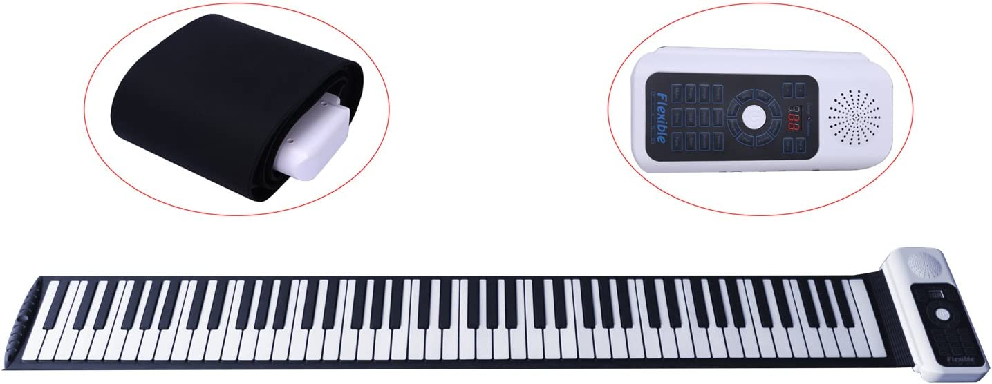 Teclado electrónico CAHAYA, Piano eléctrico Enrollable con 88 teclas y batería recargable, con 128 tonos/ritmos, permite grabar las melodías