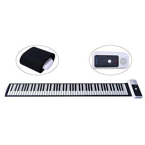 Teclado electrónico CAHAYA, Piano eléctrico Enrollable con 88 teclas y batería recargable, con 128