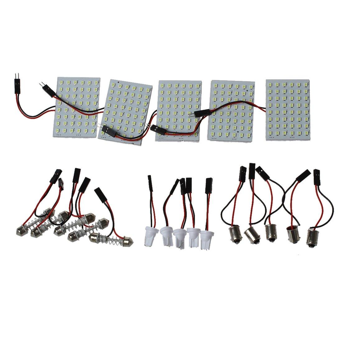 SODIAL 5pcs Car Interior Light Panel 48 SMD LED T10 BA9S Dome Festoon Bulb Adapter 12V White panel R