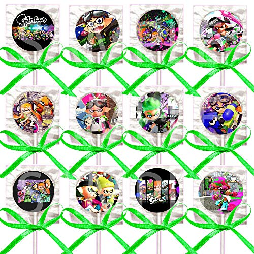 Splatoon Lollipops Party Favors Supplies Decorations with Neon Lime Green Ribbon Bows Party Favors -12 pcs, Paintball Shooter Video Game Truck Inklings Squid Sisters ()