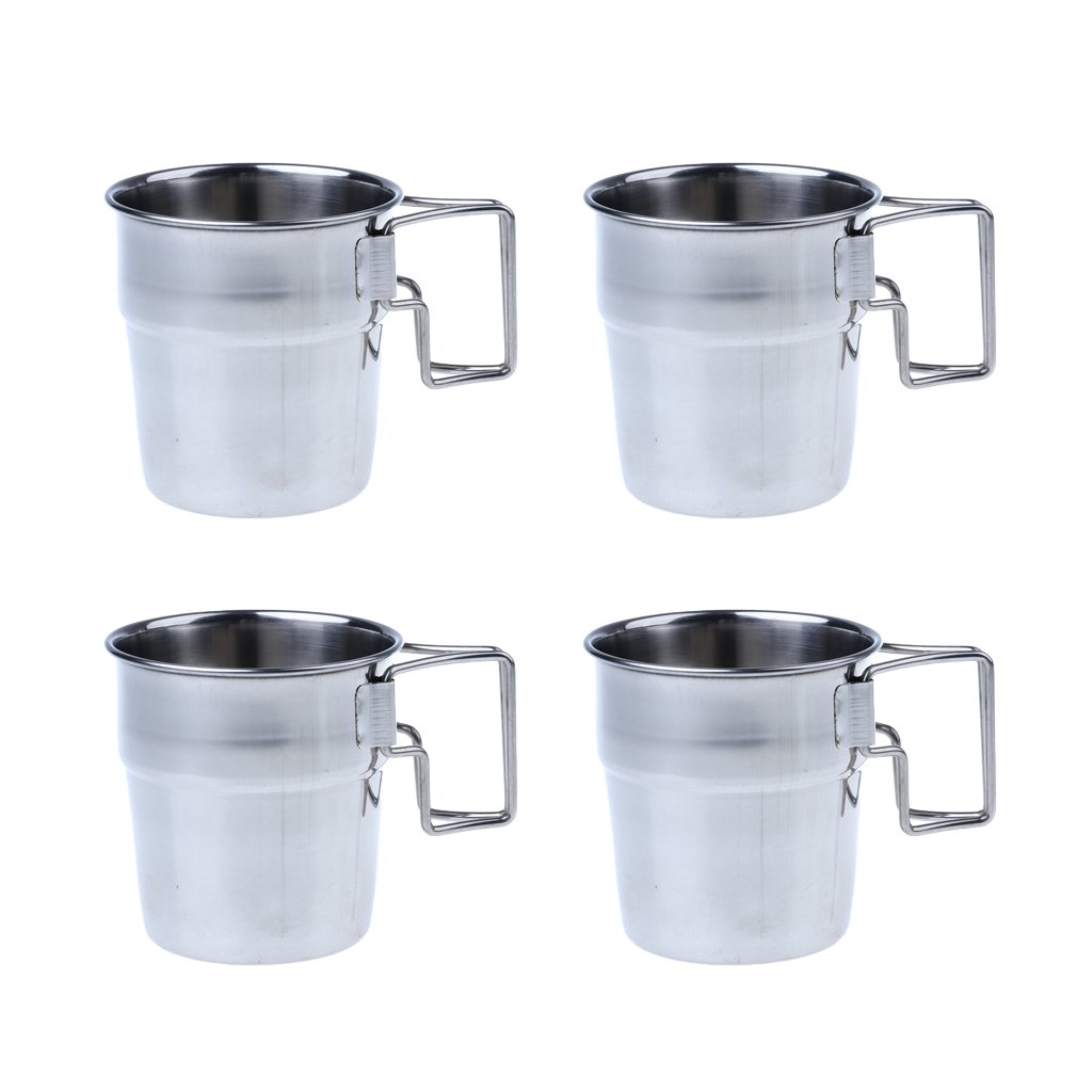 MagiDeal 4pcs Pack Stainless Steel Water Cups Outdoor Camping Coffee Mug with Folding Handle for Outdoors